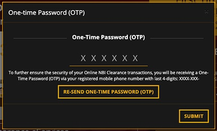 NBI Clearance Registration One-Time Password